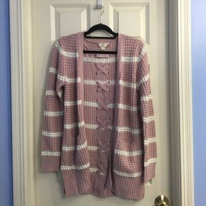 NWOT Dry Goods/Pink Rose knit striped cardigan